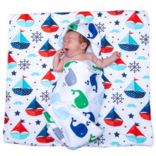Load image into Gallery viewer, Microfibre hooded baby towel - Pack of 2 - Cute boats / Whistling whales in gorgeous re-usable monogrammed gift bag