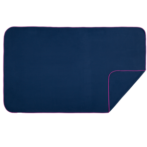 XL Microfibre Towel in Navy with Fuschia Trim