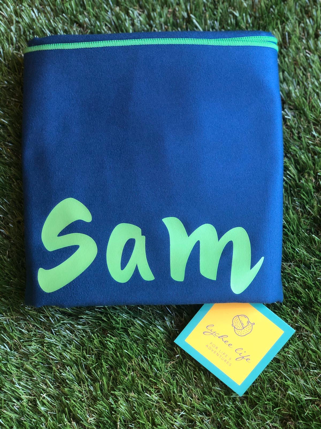 XL Microfibre Towel in Navy with Green Trim
