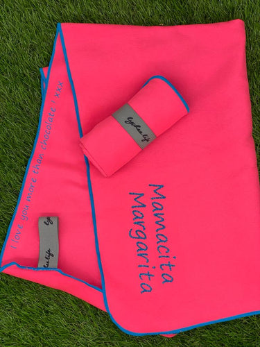 Personalised Microfibre Gym Towel in Hot Pink with Blue Trim