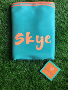 XL Microfibre Towel in Seafoam with Orange Trim