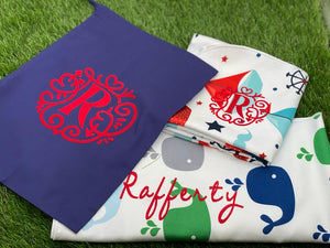 Microfibre hooded baby towel - Pack of 2 - Cute boats / Whistling whales in gorgeous re-usable monogrammed gift bag