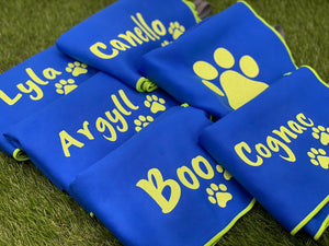 Small Personalised Microfibre Towel with Paw Prints