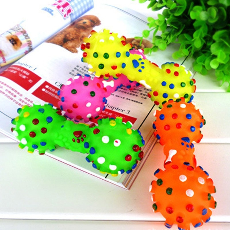 Colorful Dotted Dumbbell Shaped Dog Toys Squeeze Squeaky Faux Bone