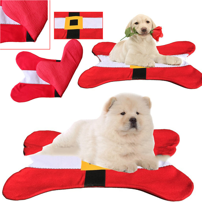 Christmas Pets Dog Cat Bed Santa Belt Bones Shape