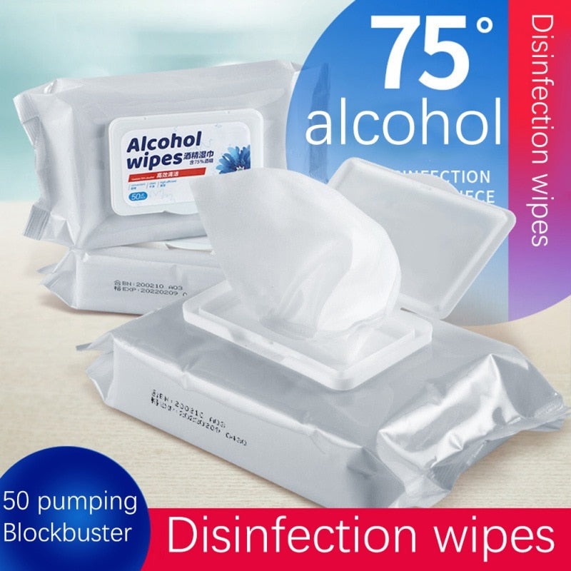 50Pcs/Pack 75% Disinfecting Alcohol Wipes Disposable Hand Wipes Clean Skin
