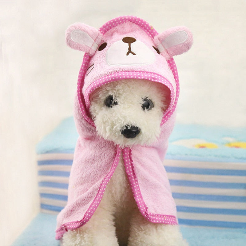 Cute Pet Dog Soft Drying BathTowel For Dog Cat Hoodies