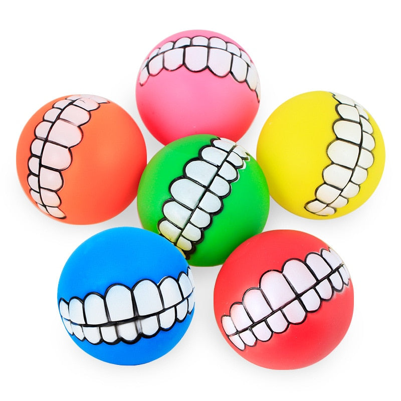 Funny Pets Dog Cat Ball Teeth PVC Chew Play Fetching Squeak Toys