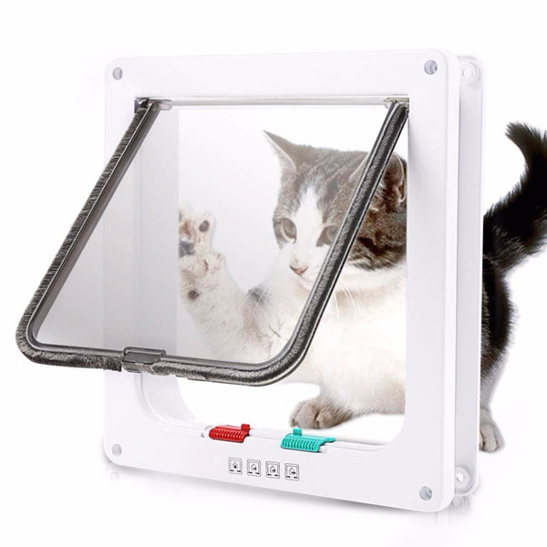 Cat Flap Door with 4 Way Lock Security Flap Door for Kitten Small Pet