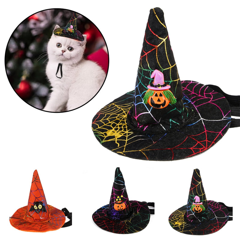 Pet Halloween Cosplay Star Pumpkin Bat Witch Hat