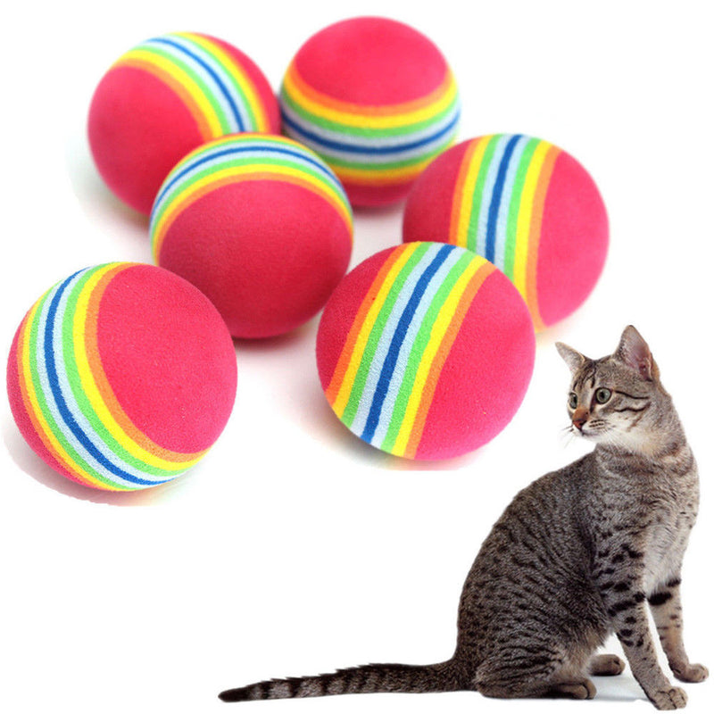 Rainbow 3.5cm 4.2cm 6.3m Cat Toy Ball Interactive