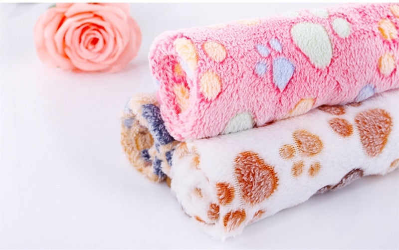 3 Colors Cute Floral Pet Sleep Warm Paw Print Towl Blanket