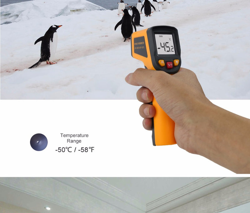 Non-Contact Laser LCD Display IR Infrared Digital Surface Themometer Pyrometer Imager