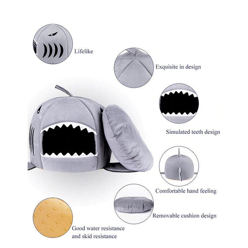 Cat Mat Shark Shape House Warm Kennel Kittens Bed