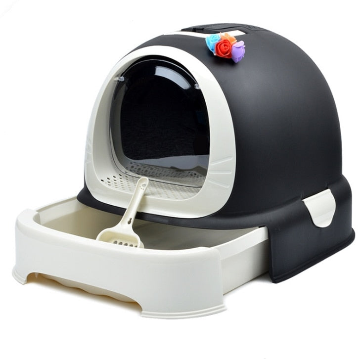 Indoor Cat Sandbox Kitten Litter Box Closed Tray Toilet