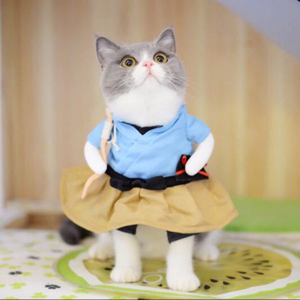 Funny Cat Dog Costume Uniform Suit Cat Clothes