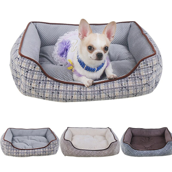 Pet Dog Cat Bed Warming House Soft Material Cotton Baskets
