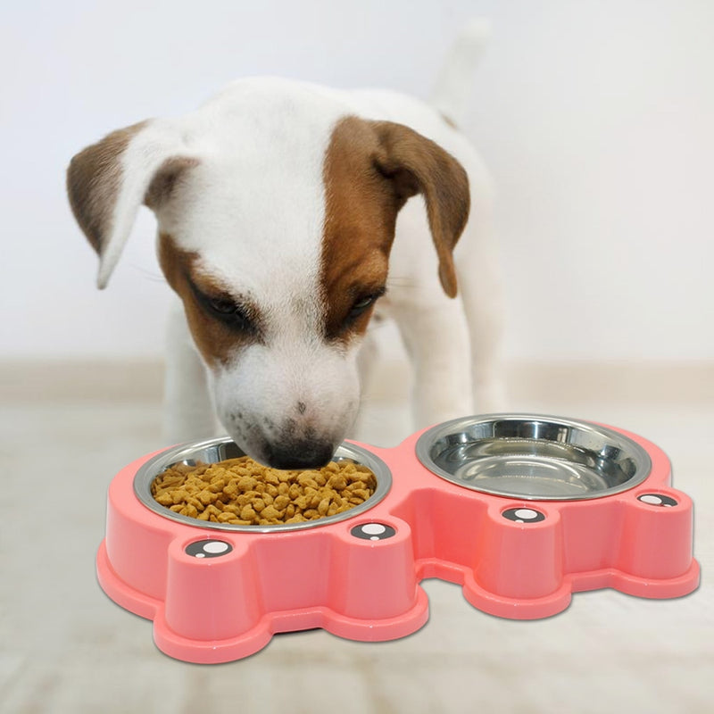 Pet Bowl Food Water Dish Feeder Stainless Steel