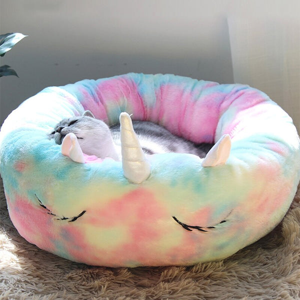 Unicorn Pet Bed Winter Warm Long Plush Pet Kennel