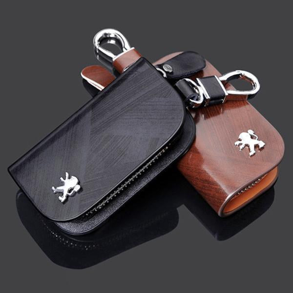 50% OFF-Car Logo Leather Wood Texture Car Key Case