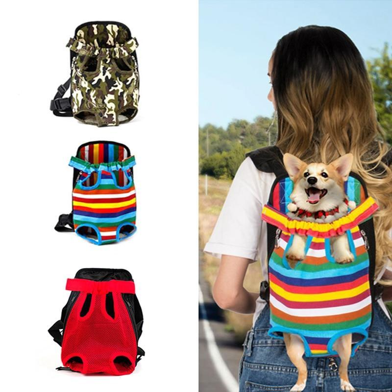 Pet Dog Carrier Backpack Hands-free Breathable Net Outdoor Travel Dog Carriers Shoulder Handle Bags for Small Dog Cats