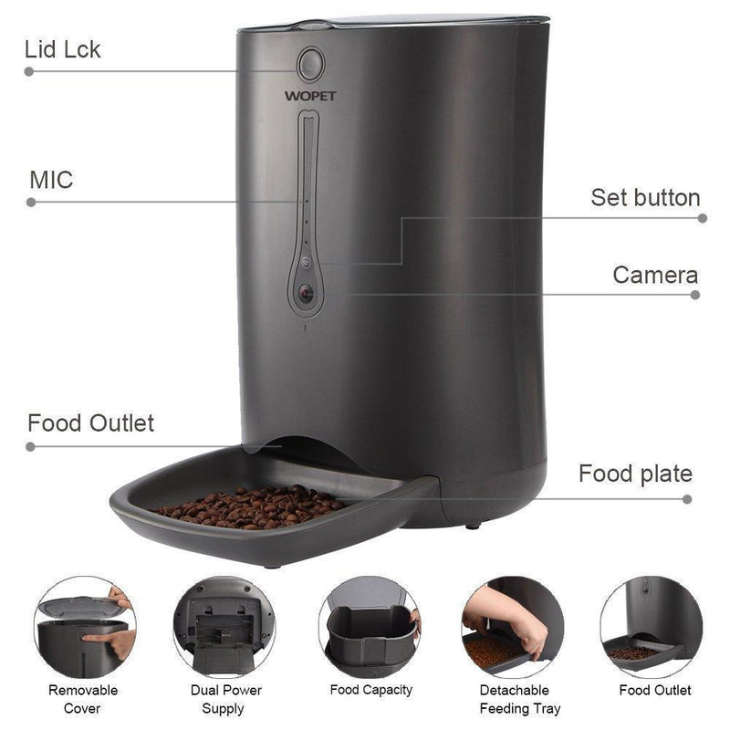 WOPET FV01(Grey)-6 Meal Automatic Feeder Video Recording APP Control-WOPET