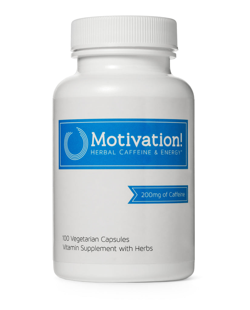 Motivation!: Herbal Caffeine + Energy Vitamin Supplement (W/ 200mg of Herbal Caffeine, Ginseng, Green Tea, Guarana)