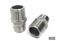 "1/2"" NPT to 1/2"" NPT Hex Nipple (304 S/S) - 2 PK"