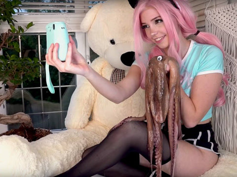 Ahegao Belle delphine and her octopus / octopus