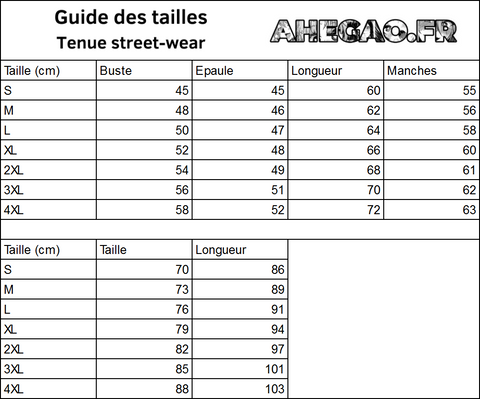 Guides des tailles : Tenue street-wear | Ahegao.fr