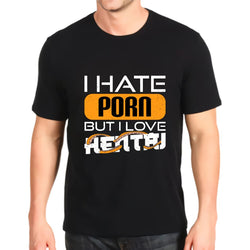 T-shirt I hate porn but i love hentai | Ahegao.fr