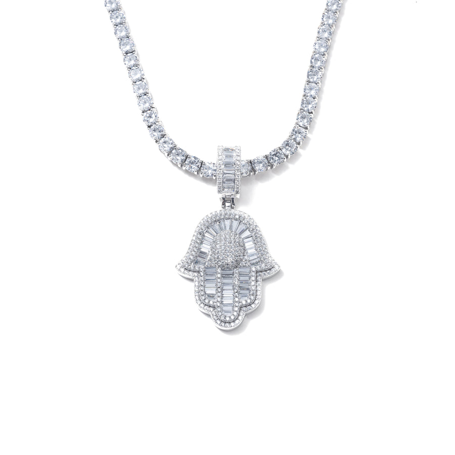 ICY BAGUETTE HAMSA NECKLACE