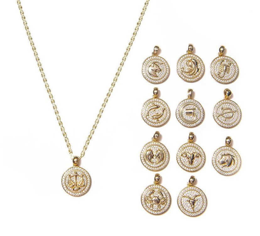 ICED OUT ZODIAC NECKLACE