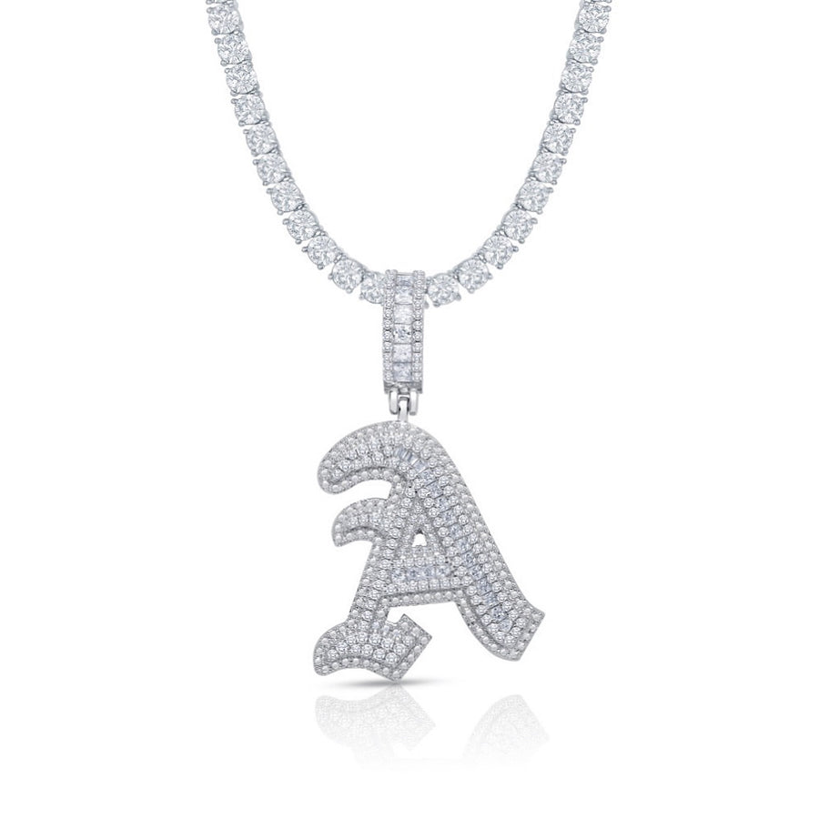 OLD ENGLISH ICY INITIAL NECKLACE
