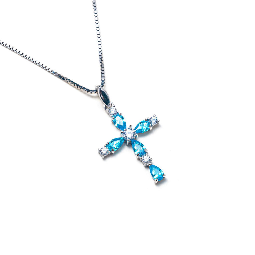 DAINTY TOPAZ CROSS NECKLACE