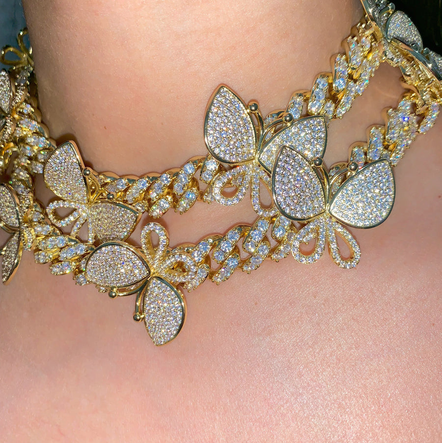 BUTTERFLY GALORE GOLD/GOLD NECKLACE