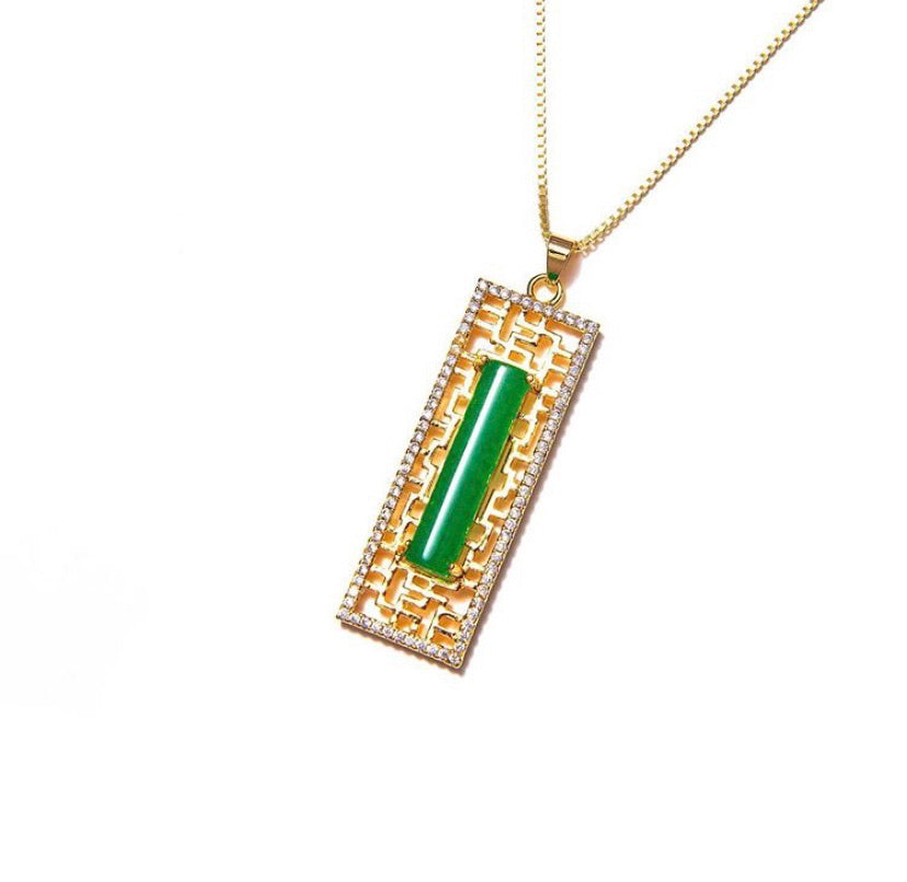 JADE MAZE TAG NECKLACE