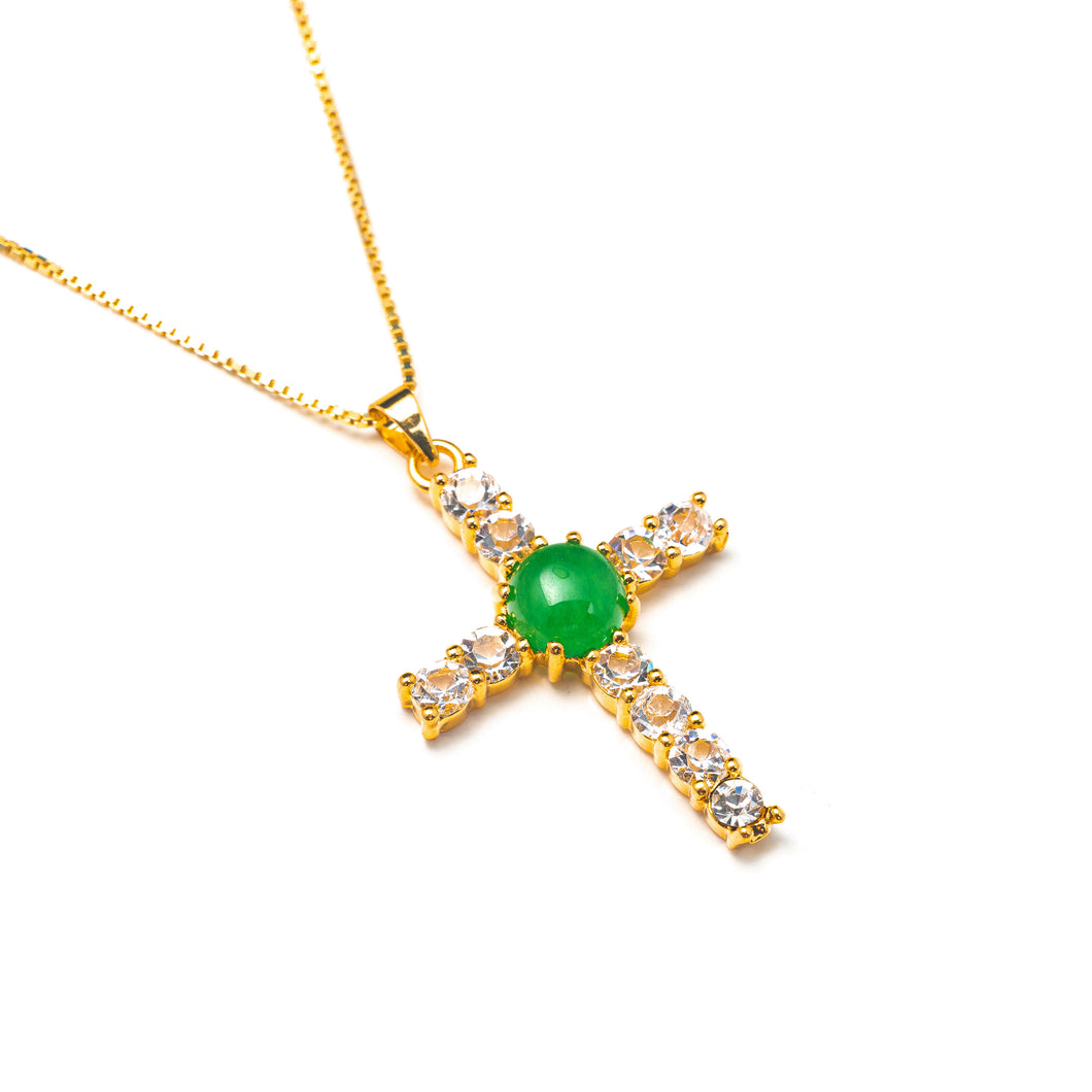 CRYSTAL JADE CROSS NECKLACE