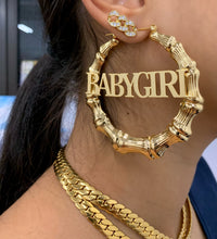 Load image into Gallery viewer, BABYGIRL BAMBOO HOOPS