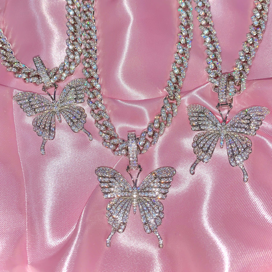 ICY BUTTERFLY CUBAN LINK NECKLACE