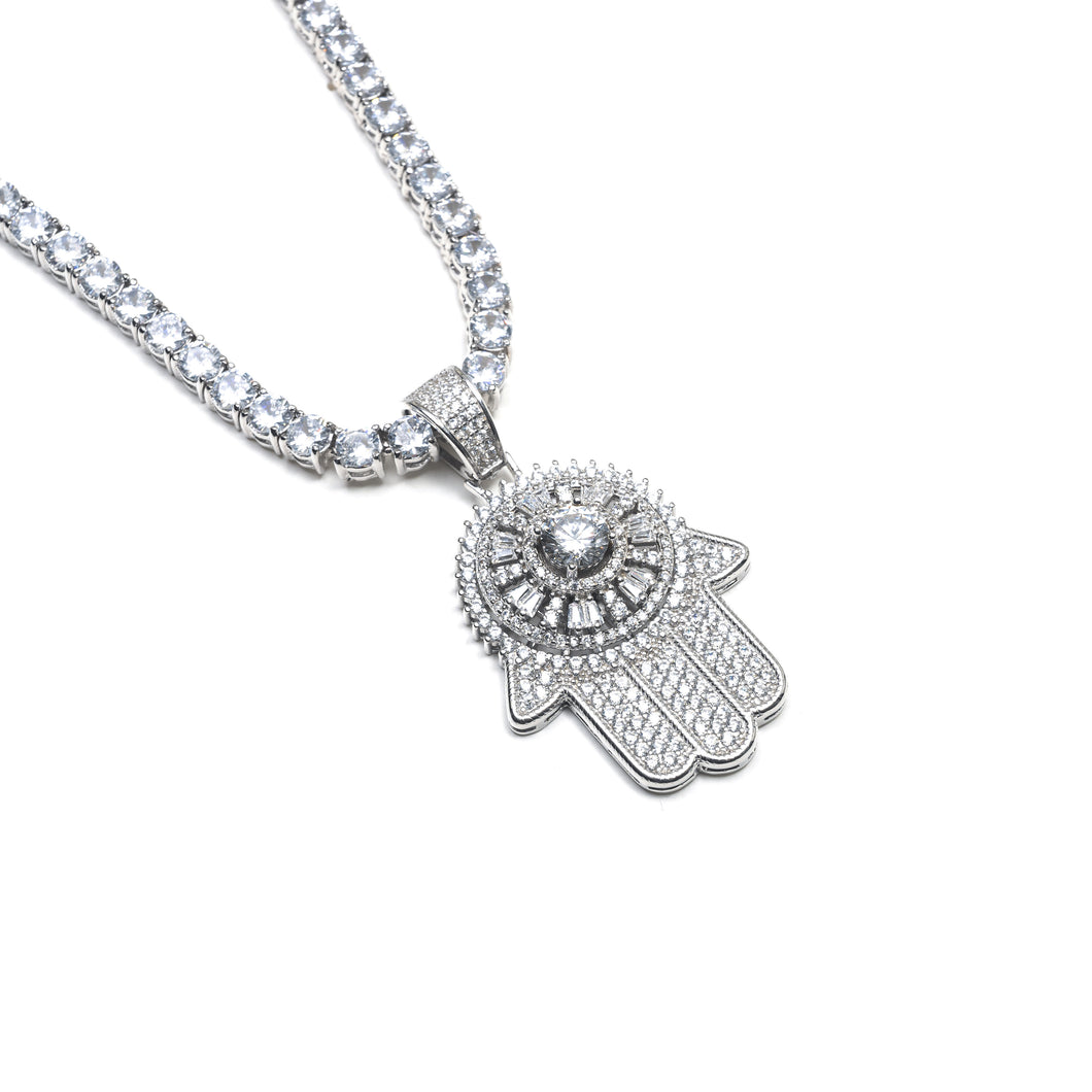 ICY SPINNING HAMSA NECKLACE