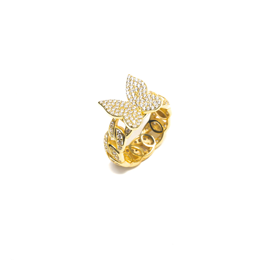 BUTTERFLY CUBAN LINK RING