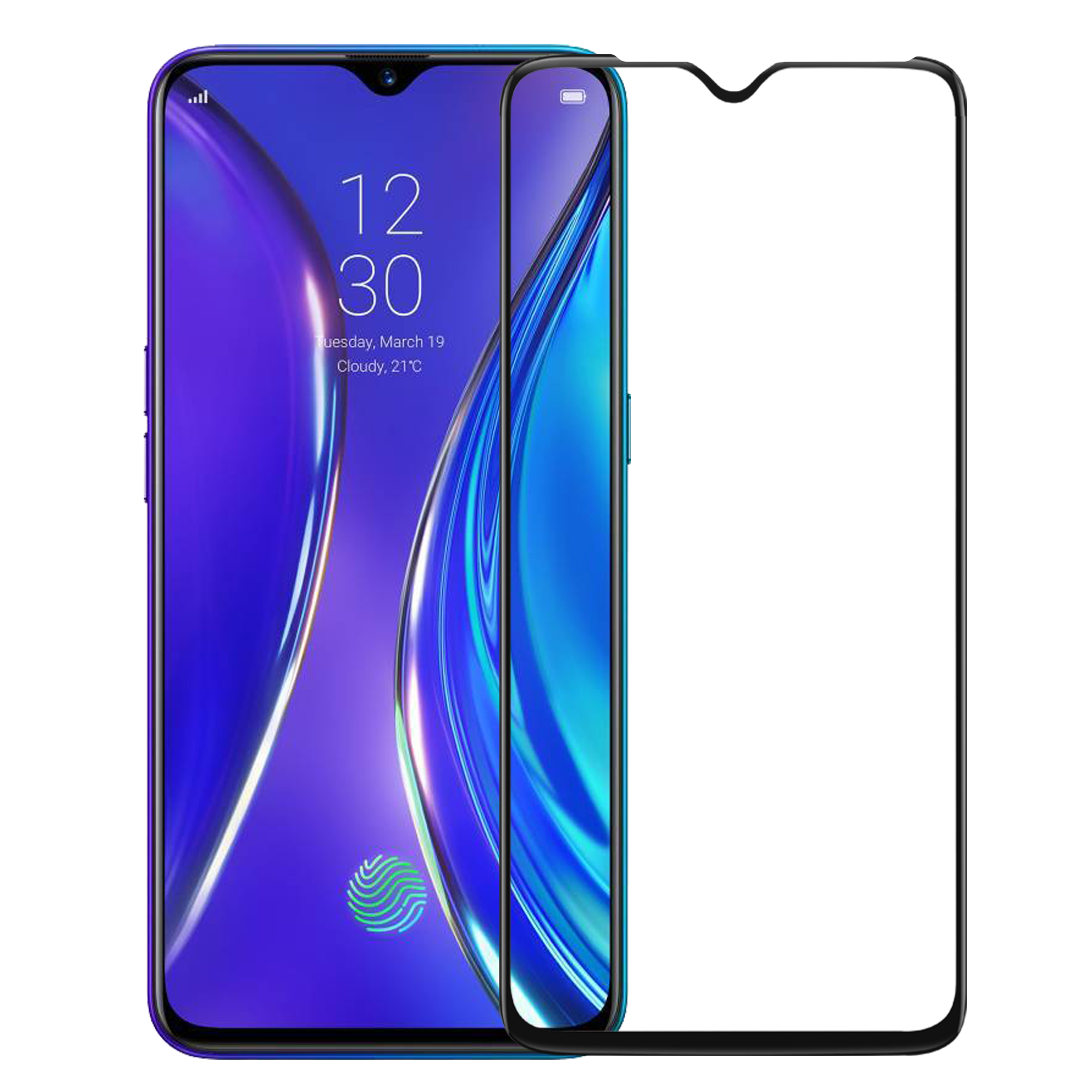 Edge to Edge Full Screen Coverage Screen-Protector with easy installation kit (Realme XT)
