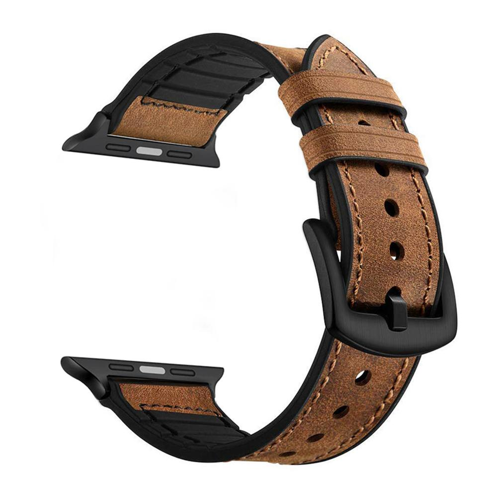 Rubber Hybrid Leather Strap for iWatch (Series 5/4) - CASE U