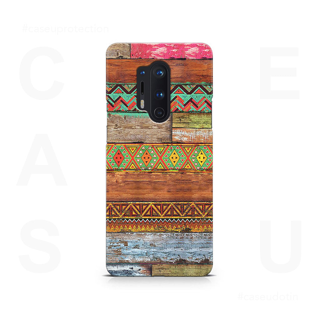Wooden Horizontal Multicolored Texture Case Cover - OnePlus 8 Pro