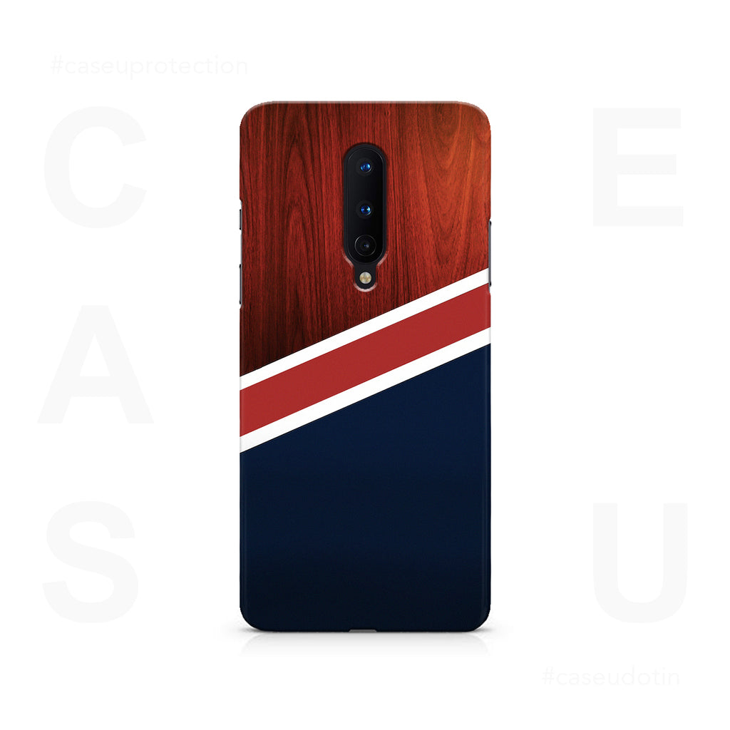 Navy Wood Case Cover - OnePlus 8
