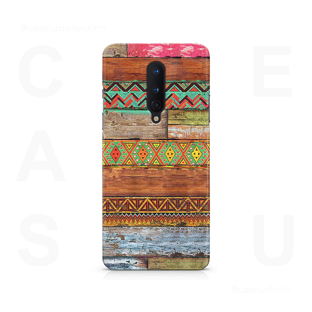 Wooden Horizontal Multicolored Texture Case Cover - OnePlus 8