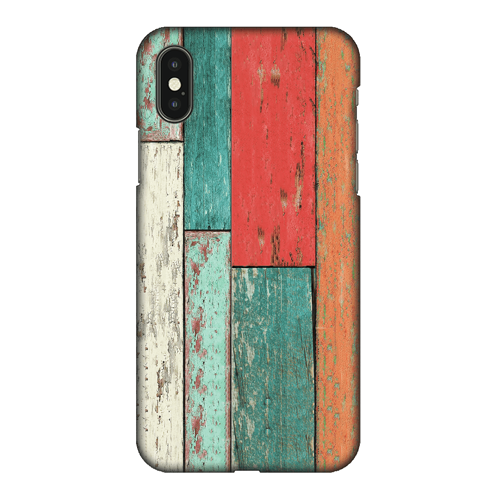 Vertical Wood Panels Multicolored Case Cover - iPhone XS