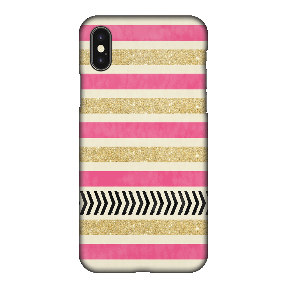 Pink & Gold Stripes Case Cover - iPhone XS