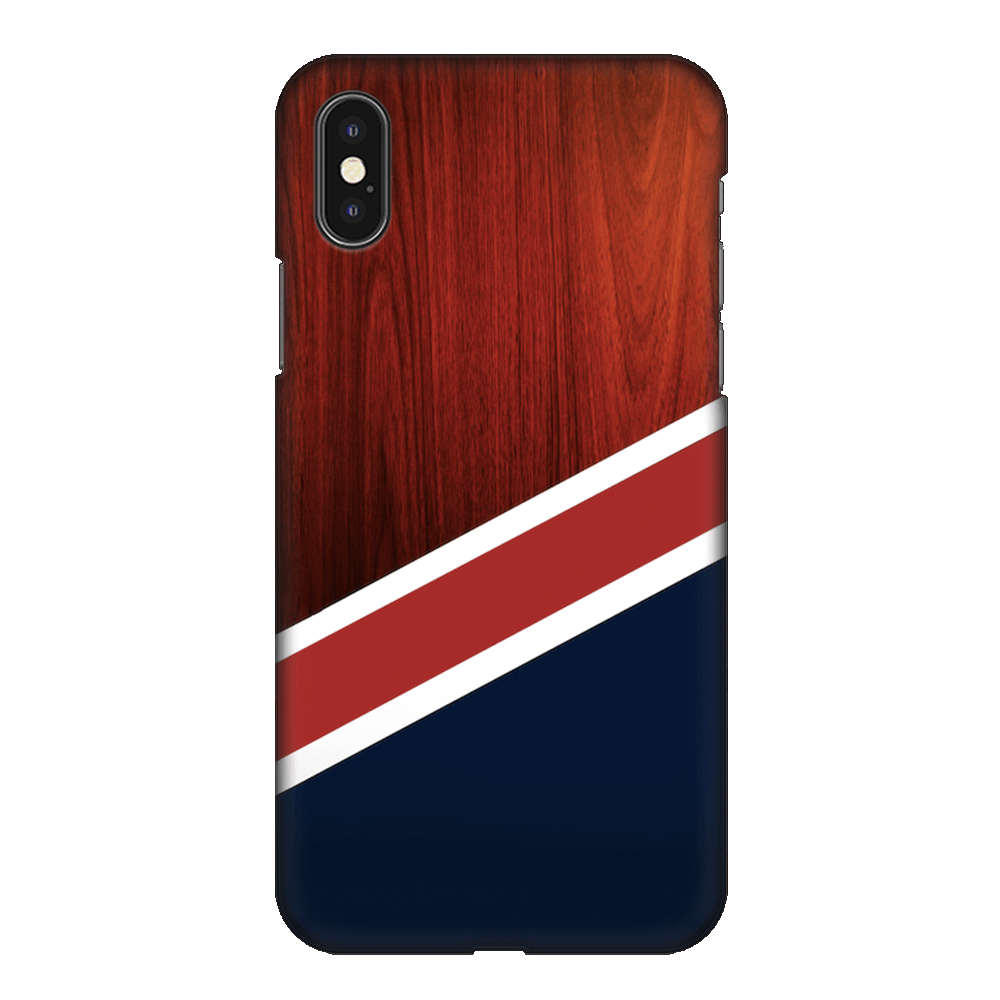 Navy Wood Case Cover - iPhone XS